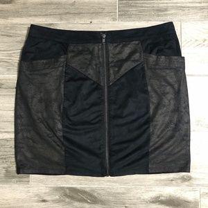 Ladakh Faux Leather Suede Mini Skirt
